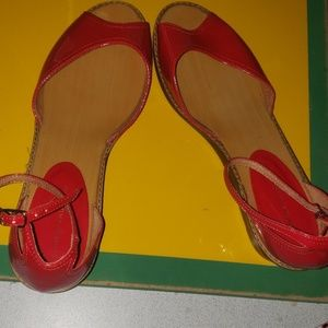 CHINESE LAUNDRY RED STRAPPED FLATS size 9M